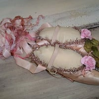 Vintage pink ballet pointe toe shoes ornate embellished slippers re-purposed shabby chic romantic wall decor Anita Spero