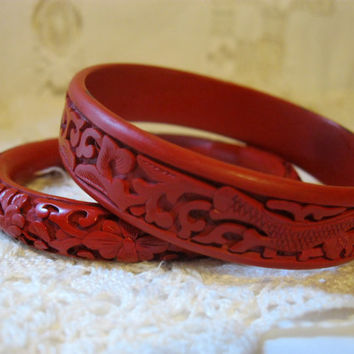 Two Vintage Chinese Cinnabar Carved Bangle Bracelets
