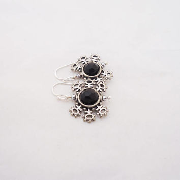 Obsidian Earrings, Obsidian Snow Flakes Earrings, Black Earrings, Gemstone Earrings in Black
