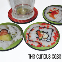 Sushi Rolls Wasabi Round Coaster Set of 4 with Storage Gift Tin