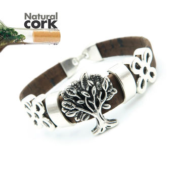 Portuguese Cork life of tree 17cm women cork bracelet vintage original lady handmade wood jewelry with natural material BR-107