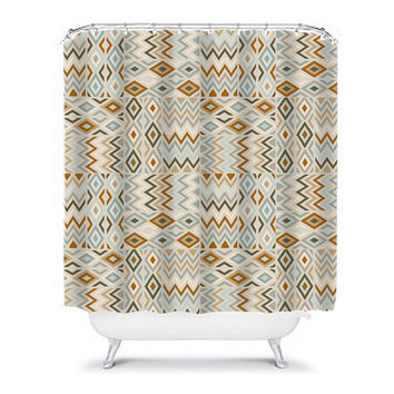 Aztec Tribal Shower Curtain Monogram Diamond Chevron Earth Tones Beige Tan Bathroom Bath Polyester Made in the USA