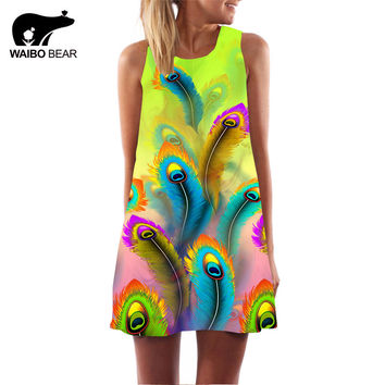 Vintage Style Women Sleeveless Straight Floral Print Tank Dress 2016 Summer Elegant Club Party Dresses Plus Size WAIBO BEAR