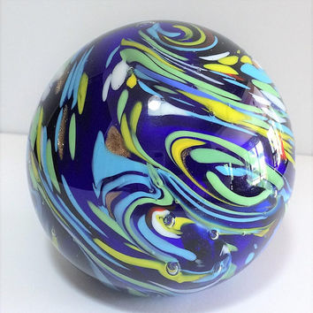Blown Glass Multi Color Paperweight Paper Weight Marbled Cobalt Blue Aventurine Green Yellow Swirls Clear Cased, Home and Office Decor  518