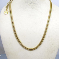 Vintage Givenchy Necklace. Gold Snake Omega Link Double Chain Necklace