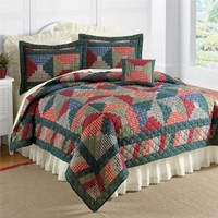 Brylanehome Log Cabin Quilt Set With Free Sham(S) (Green Blue Red,King)