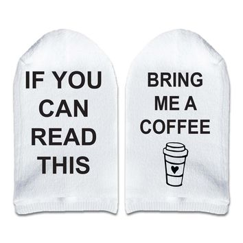 If You Can Read This Bring Me a Coffee - No Show Socks Printed with Text on Sole
