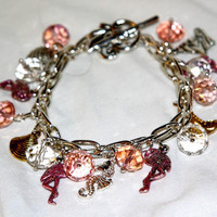 Fun in Sun Pink Flamingo Birds, Beach Bracelet,Ocean Fun  Size can be altered to fit