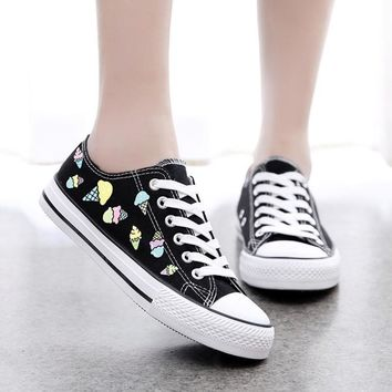 Quality New 2017 Ice Cream Print Women's Canvas Shoes Spring Summer Hand Painted Wome