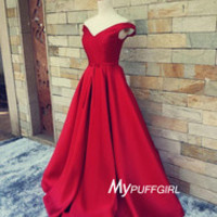 Red Off The Shoulder Satin A Line Prom Dress , Formal Gown , Homecoming Dress