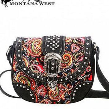 Western: Paisley Cross-body Bag w/Buckle