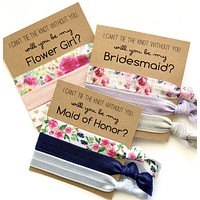 Will You Be My Bridesmaid, Bridesmaid Proposal Hair Tie Favor, 3 Hair Ties on Kraft Cards