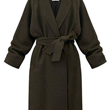Women's Slim Fit Mid Length Lapel Overcoat Wool Blend Trench Coat with Belt