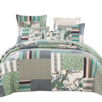 Tache 2-3 Piece 100% Cotton Floral Patchwork Forest Glade Green Bedspread Quilt Coverlet Set (JHW-650)