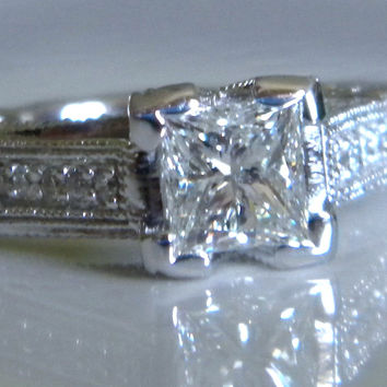 1.76ct D-IF GIA Diamond Engagement Ring Princess Diamond 18kt White Gold  Anniversary Bridal Birthday Jewelry