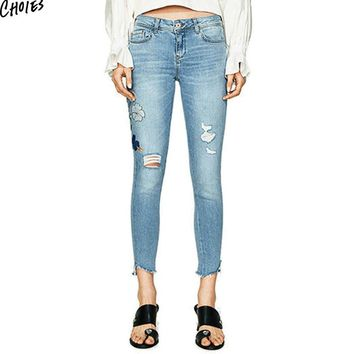 Blue Denim Embroidery Floral Ripped Skinny Jeans Women Mid Waist Zipper Fly Silm Casual Pockets Back Ankle Length Pencil Pant