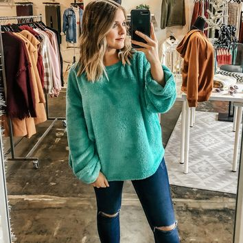 Joey Fuzzy Oversized Sweater -Turquoise
