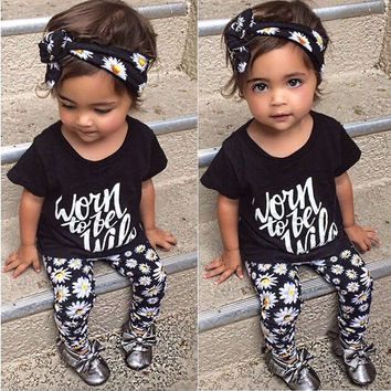 3Pcs Toddler Kids Children Baby Girls Clothes Summer Flower Short Sleeve T-shirt Tops + Pants Outfits Clothes Sets New 2016