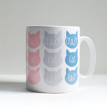Cat lovers coffee mug, gift for her, homeware kitchen gift, crazy cat lady mug, cat mug, coffee drinker gift, best office mugs, mug ideas.
