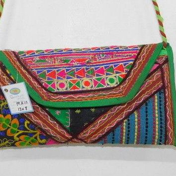 Indian Women Bag Edh Clutch Purse Floral Embroidered Evening Ethnic Handbag MK10
