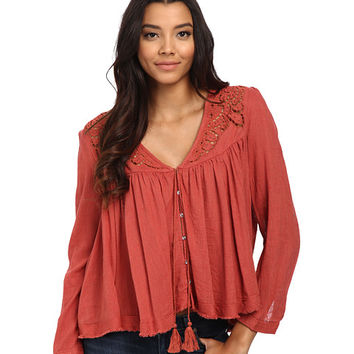 Free People Doing It Right Button Down Woven Top Sunset - 6pm.com