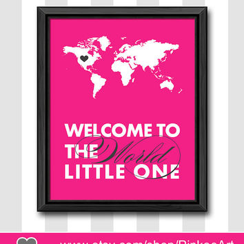 hot pink baby room decor pink nursery wall art pink new baby print welcome to the world nursery baby girl room baby gifts baby girl wall art