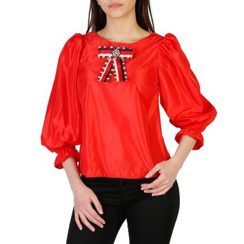 Imperial Red Long Sleeve Rhinestone Applique Shirt