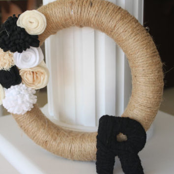 Customize Letter Wreath, Home Decor, Wedding, Twine Wrapped Wreath, Wedding Decor, Gifts, Black and White Wedding, Home Accents, 10 inch