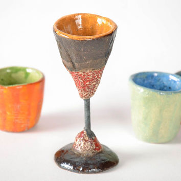 Bright handmade ceramic tall wine glass accessories for dining room gift ideas
