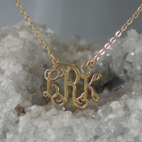 Gold Monogram Necklace - 1 inch Personalized Monogram - 925 Sterling silver, 18k Gold Plated