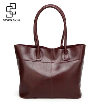 SEVEN SKIN Brand 2017 Top-Handle Women Shoulder Bags Fashion Solid Leather Women's Handbags Female Large Tote Bag bolsos mujer
