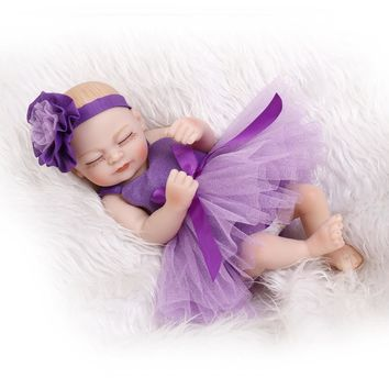 Silicone Baby Dolls 10 Inches miniature baby soft vinyl real touch