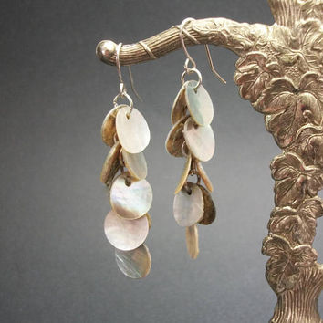 Vintage Mother of Pearl Coin Dangle Earrings for Pierced Ears - Silver Tone Hooks - MOP Abalone Lightweight Drop Earrings Beach Boho Jewelry