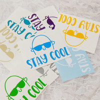 2.5x3 Inch 'Stay Cool' Sunglasses Permanent Vinyl Decal/Bumper Sticker