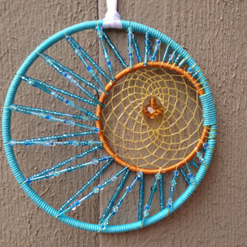 Large sun and moon beaded dream catcher from leimk for Dreamcatcher weave patterns