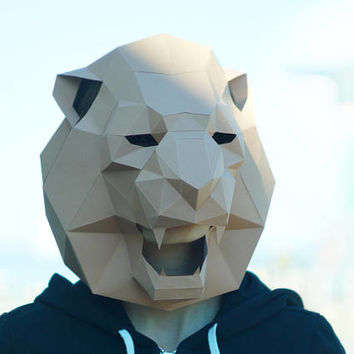 Lion Mask,Cat Mask,DIY 3Dmask,PDF,Polygon Paper Mask,Template,Printable,Animal,Pattern mask,Low Poly,Papercraft Face Mask,Costume,Party,wild