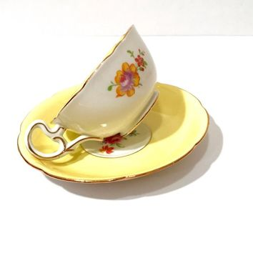 Royal Grafton Cup And Saucer  Yellow White Pink Rose Flower Bouquet  Scalloped Gold Trim  English Tea Cup  Collectible Tea Cup Vintage 1950s