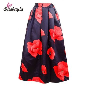 Dasbayla New 2016 Summer Women Vintage Maxi Skirts Rose Printed A-Line Skirts One Size Elastic With Zipper Beautiful Clothing