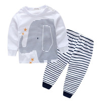 2016 Autumn Toddler Baby Boys Lovely Elephant Tops Striped Pants Outfit Chidlren Clothing Sets