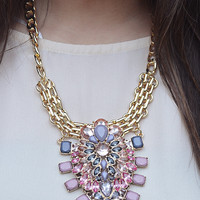 Pretty In The City Necklace: Gold/Pink