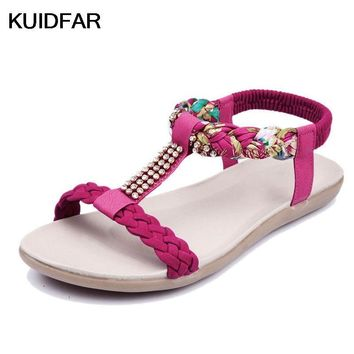 Women's Sandals Women's Summer Shoes Woman Footwear Crystal Soft Leather Beach shoes S