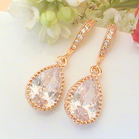 Crystal Bridal Earrings- Rose Gold Earrings- Bridal Jewelry- Cubic Zirconia Earrings- Crystal Wedding Earrings- Cubic Zirconia Jewelry