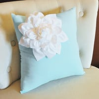 Decorative White Corner Dahlia on Light Aqua Pillow 14 X 14 Aqua and White Flower Pillow - Decorative Pillow - Throw Pillow