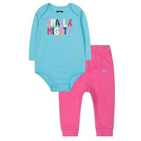 Nike ''Small & Mighty'' Bodysuit & Pants Set - Baby Girl, Size: