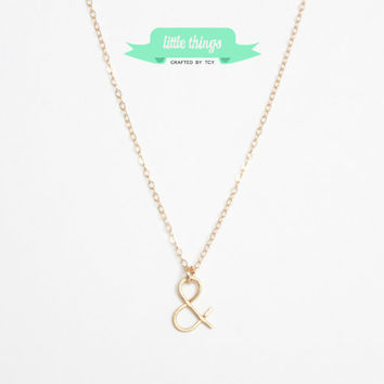 Gold Ampersand Necklace - Bridesmaid Gift, Gold filled, Ampersand, Simple Necklace