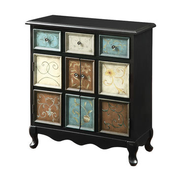 Distressed Black Multi-Color Apothecary Bombay Chest