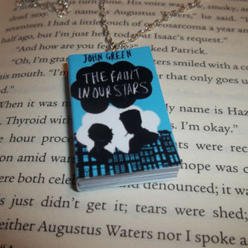 The Fault in Our Stars Fan Art, John Green Pendant, Miniature Book Necklace, TFiOS Jewelry