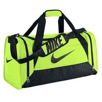 Nike Brasilia 6 Medium Volt Green Duffel Bag Overnight Gym Luggage