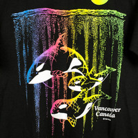 80s lisa frank style orca whale tee - vintage 1980s black shirt - neon rainbow - vancouver bc t-shirt - whales - ocean -