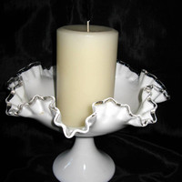 Milk Glass Compote, Fenton Silvercrest Compote Large Glass Pedestal